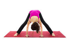 Wide Legged Forward Bend Pose in Yoga Royalty Free Stock Photo