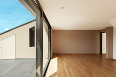 Wide living room with large window. Interior modern house, wide living room with large window stock photos