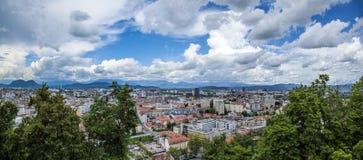 Wide Ljubljana. Wide panorama view of Ljubljana, Slovenia Royalty Free Stock Image