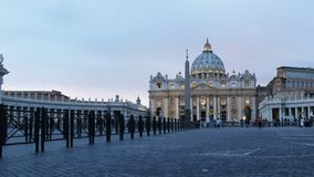 Wide low angle view of dusk at st peter`s in the Vatican. Wide low angle view of dusk at st peter`s in Vatican City stock video