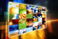 Wide media screen. With collection of pictures. All used images belongs to me Stock Photo