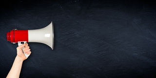 Wide megaphone blackboard business background Stock Images