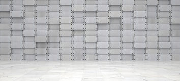 Wide Metal Room with Marble Floor Royalty Free Stock Photo