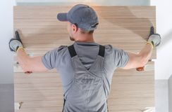 Wide Modern Tiles Installation stock photography