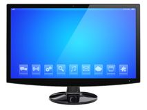 Wide monitor on a white Stock Photo