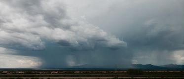 Wide Monsoon Cloud. Large monsoon cloud across the Southern Arizona Desert Royalty Free Stock Photo