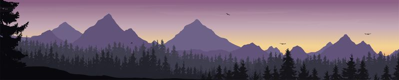 Wide mountain landscape with forest and flying birds under the m. Orning sky with clouds and rising sun - vector, suitable for outdoor advertising Stock Photography