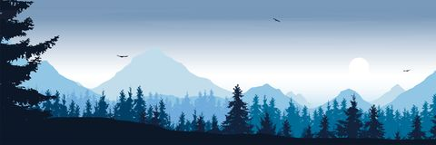 Wide mountain landscape with forest and flying birds under the m. Orning sky with clouds and rising sun - vector, suitable for outdoor advertising Stock Photos