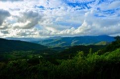 Wide mountain scenery, beautiful clouds. stock image