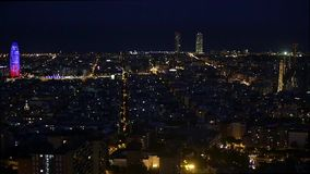 Wide night view of Barcelona.Time Lapse stock footage