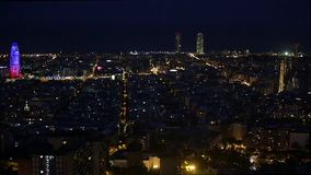 Wide night view of Barcelona.Time Lapse stock video footage