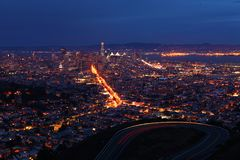 Wide night view of San Francisco city center Royalty Free Stock Photo