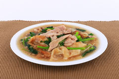 Wide Noodles in a Creamy Gravy Sauce : chinese and thai style food. in thai language call is Rad Na Royalty Free Stock Photography