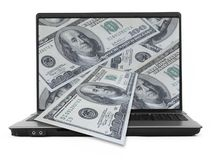 Wide notebook with dollars Stock Photo