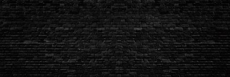 Wide old black brick wall texture. Dark masonry panorama. Brickwork panoramic grunge background. Wide old black shabby brick wall texture. Dark masonry panorama royalty free illustration