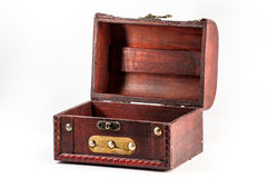 Wide open antique chest. Wide open old antique chest isolated on white background Stock Images