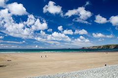 Wide Open Beach Scene. Sandy beach under a saturated blue sky royalty free stock photography
