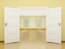 A wide open door entrance to the living room in classic style. 3 royalty free illustration