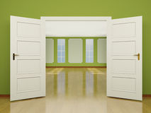 A wide open door entrance to the living room in classic style. 3 stock illustration
