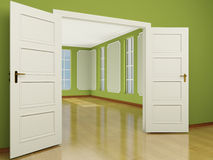 A wide open door entrance to the living room in classic style. 3 Royalty Free Stock Photography