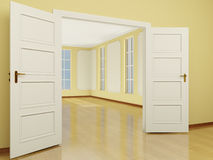 A wide open door entrance to the living room in classic style. 3 Royalty Free Stock Photos