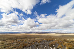Wide open empty desert landscape in Nevada during winter with blue skies and clouds. Royalty Free Stock Image