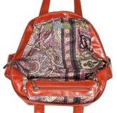 Wide open leather handbag Stock Image
