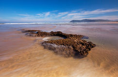 Wide and open. The river mouth near Swartvlei beach on the Garden Route (South Africa&#x29 Royalty Free Stock Photos