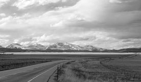 Wide Open Road, in Black and White Royalty Free Stock Image