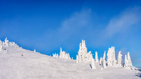 Wide open ski-able snowfields in the high alpine ski area. At the village of Sun Peaks in the Shuswap Highlands of central British Columbia, Canada Stock Image
