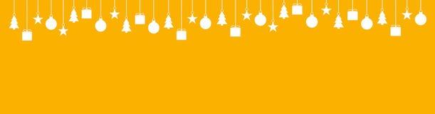 Wide christmas background orange white. Wide orange background with white Christmas Decoration Royalty Free Stock Photos
