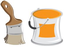 Wide paintbrush and cans. Vector cartoon Stock Images
