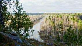 Wide panaramic veiw of mountain river landscape of Chusovaya river in siberia, Ural, Russia. Slider, 4k stock footage