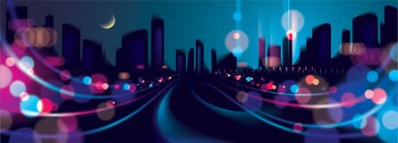 Wide panorama abstract urban night light bokeh , defocused backg. Round. Effect vector beautiful background. Blur colorful dark background with cityscape Royalty Free Stock Photography