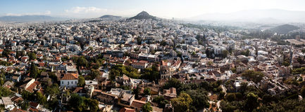 Wide panorama of Athens royalty free stock photography