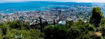 Wide panorama Bahai Gardens on Mt Carmel overlooking Haifa and t royalty free stock photos