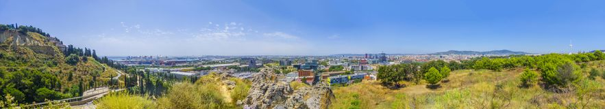 Panorama of Barcelona – beautiful view from Montjuic mountain to the Port, Cemetery, Fira district, L`Hospitalet de Llobregat royalty free stock images
