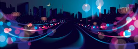Wide panorama big city nightlife with street lamps and bokeh blu. Rred lights. Effect vector beautiful background. Blur colorful dark background with cityscape Stock Image