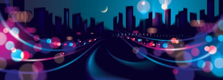 Wide panorama big city nightlife with street lamps and bokeh blu. Rred lights. Effect vector beautiful background. Blur colorful dark background with cityscape royalty free illustration