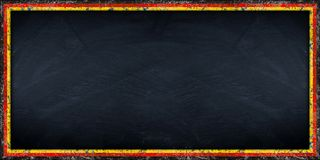 Wide panorama blackboard with german flag frame Stock Images