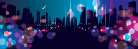 Wide panorama blurred street lights, urban abstract background. Effect vector beautiful background. Big city nightlife. Blur colorful dark background with royalty free illustration