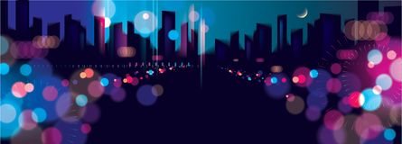 Wide panorama blurred street lights, urban abstract background. Effect vector beautiful background. Big city nightlife. Blur. Colorful dark background with stock illustration