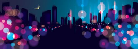 Wide panorama blurred street lights, urban abstract background. Effect vector beautiful background. Big city nightlife. Blur colorful dark background with Vector Illustration