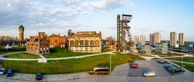 Katowice city in Poland with old coal mine facilities Royalty Free Stock Photos