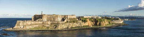 Wide panorama of the El Morro Fort in San Juan, Puerto Rico. Wide panorama of the El Morro Fortress in San Juan, Puerto Rico stock image