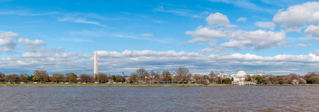 Wide Panorama of the Jefferson Memorial and Washington Monument royalty free stock image