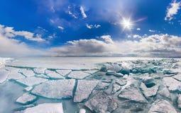 Wide panorama of Lake Baikal ice hummocks in Olkhon Island Royalty Free Stock Photos