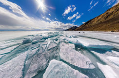 Wide panorama of Lake Baikal ice hummocks in Olkhon Island Royalty Free Stock Photo
