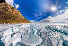 Wide panorama of Lake Baikal ice hummocks in Olkhon Island Royalty Free Stock Images