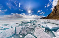 Wide panorama of Lake Baikal ice hummocks in Olkhon Island Stock Images